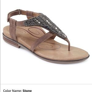 Aetrex Sheila sandal in stone sz 38